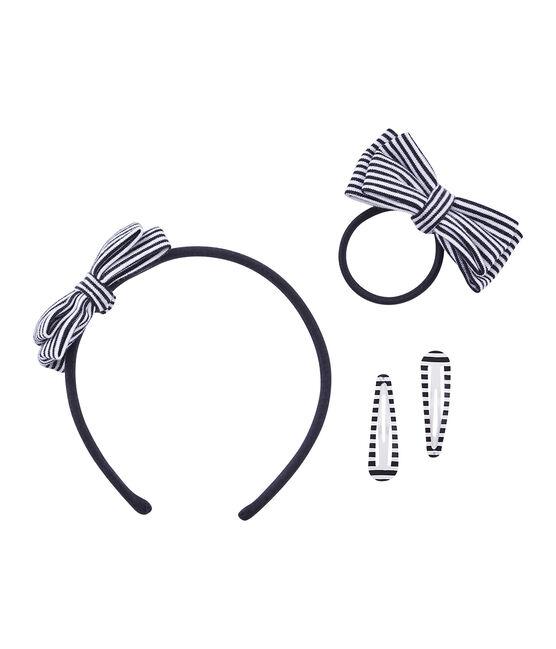 Lote de accesorios infantiles para el cabello femenino azul Smoking / beige Coquille