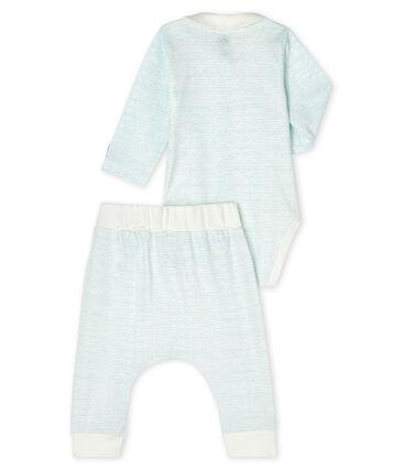 Conjunto de dos piezas para bebé niño de punto blanco Marshmallow / azul Jasmin