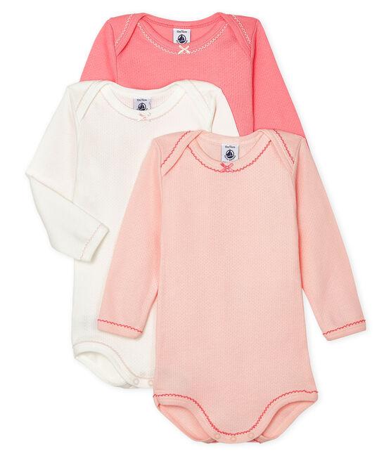 Tres bodis de manga larga para bebé de niña lote .