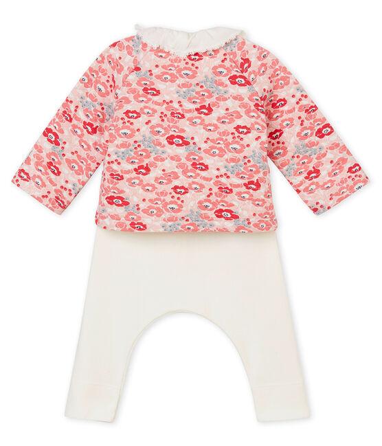 Conjunto de tres piezas para bebé niña blanco Marshmallow / blanco Multico