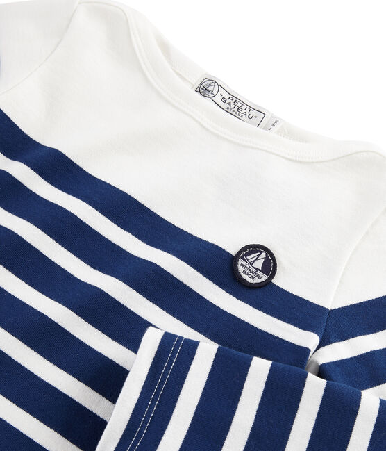 Marinera de punto jersey infantil blanco Marshmallow / azul Medieval