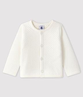 Cárdigan de tejido túbico para bebé niña blanco Marshmallow