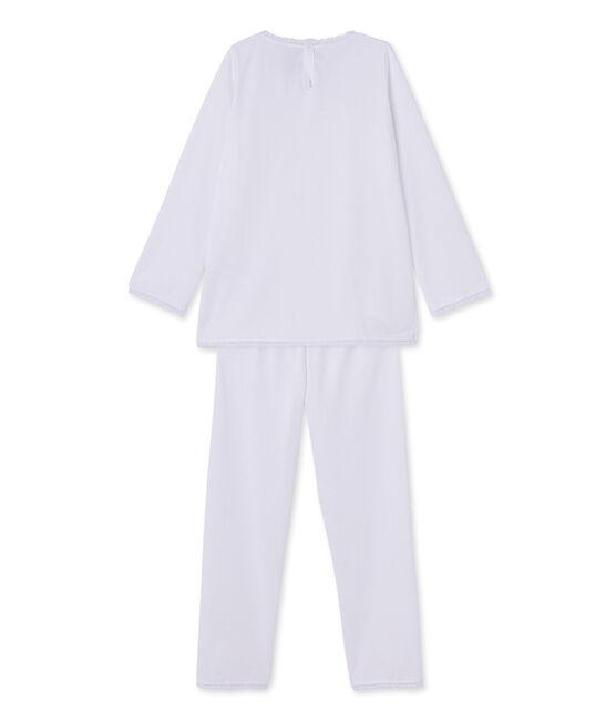 Pijama de lunares para niña blanco Ecume