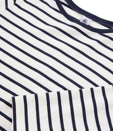 Camiseta marinera de mujer blanco Marshmallow / azul Smoking