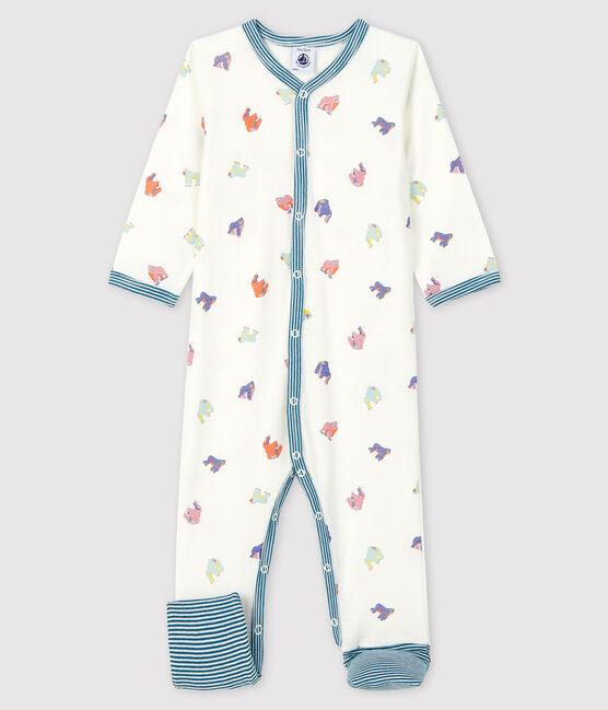 Pelele sin pies de punto acanalado con estampado de gorilas para bebé blanco Marshmallow / blanco Multico