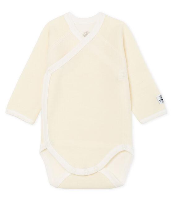 Body de manga larga para recién nacido de lana y algodón blanco Marshmallow