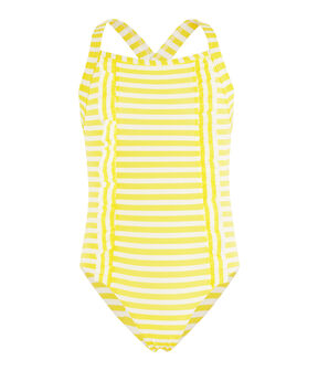 Traje de baño de una pieza a rayas con detalles de volantes. amarillo Eblouis / blanco Marshmallow