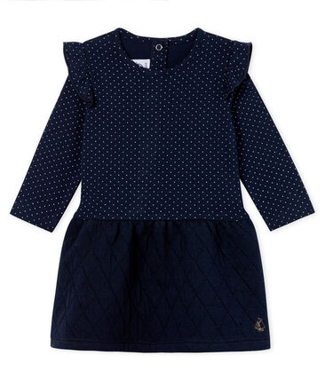 Vestido bimaterial de manga larga para bebé niña azul Smoking / blanco Marshmallow