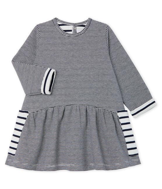 Vestido de manga larga de rayas para bebé niña azul Smoking / blanco Marshmallow