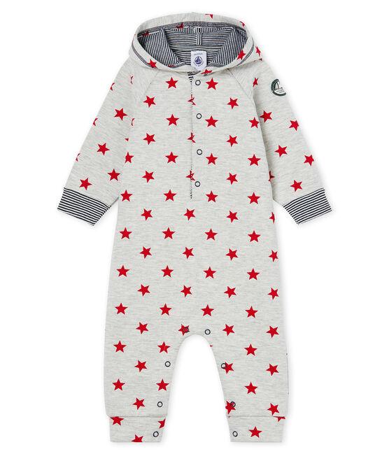 Mono largo con capucha y estampado para bebé niño gris Beluga / rojo Terkuit