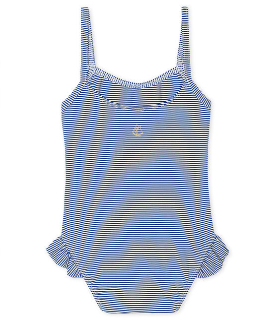 Traje de baño de una pieza UPF 50+ para bebé niña azul Surf / blanco Marshmallow