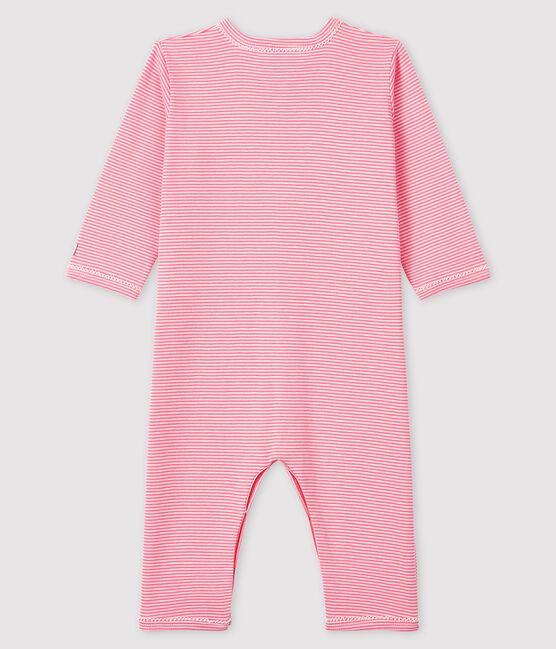 Pelele sin pies de punto acanalado y tejido milrayas rosa para bebé niña rosa Gretel / blanco Marshmallow