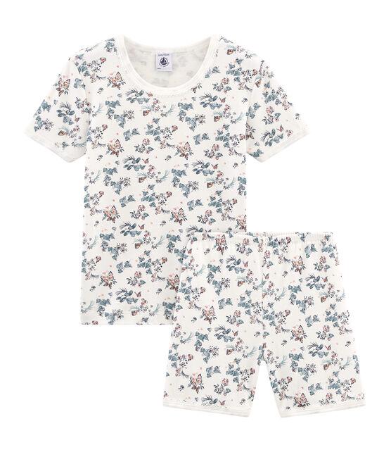 Pijama corto de corte muy ajustado de punto para niña blanco Marshmallow / blanco Multico