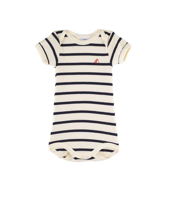 Bodi manga corta para bebé niña - bebé niño beige Coquille / azul Smoking