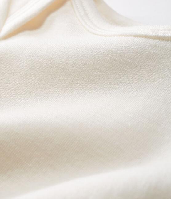 Body largo para bebé de lana y algodón beige Ecru