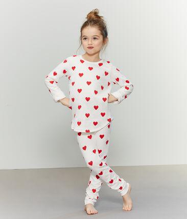 Pijama de felpa para niña-niño blanco Marshmallow / rojo Terkuit