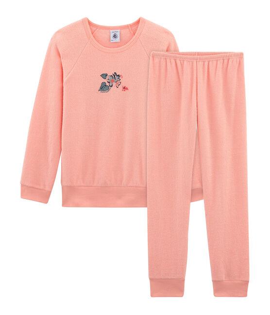 Pijama de rizo picado para niña rosa Rosako