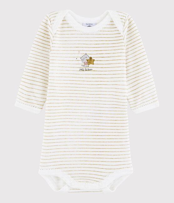 Bodi de manga larga de bebé niña blanco Marshmallow / amarillo Or