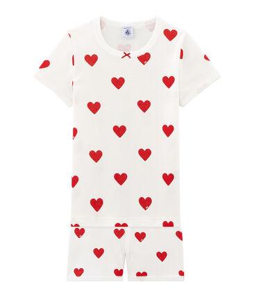 Pijama corto de punto de algodón para niña blanco Marshmallow / rojo Terkuit