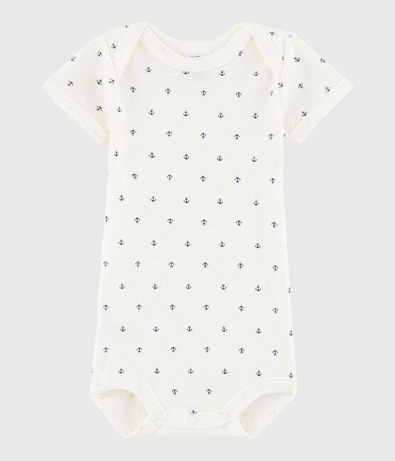 Bodi de manga corta de bebé niño blanco Lait / azul Medieval