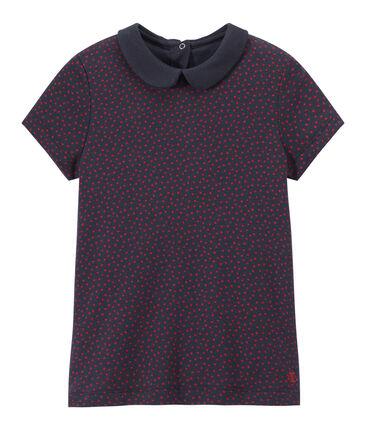 Camiseta con cuello claudine para niña