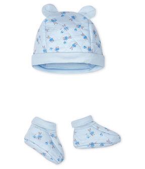 Juego de gorro de nacimiento y patucos para bebé de túbico. azul Fraicheur / blanco Multico