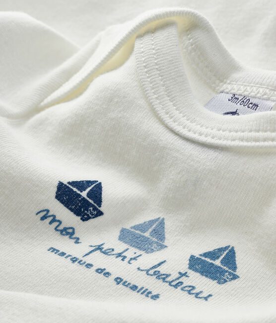 Bodi manga corta para bebé niño-niña blanco Marshmallow