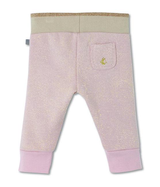 Pantalón en muletón brillante para bebé niña rosa Joli / amarillo Dore