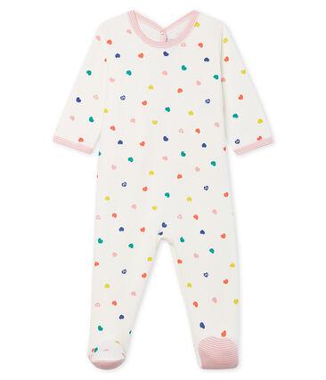 Pijama de muletón para bebé niña blanco Marshmallow / blanco Multico