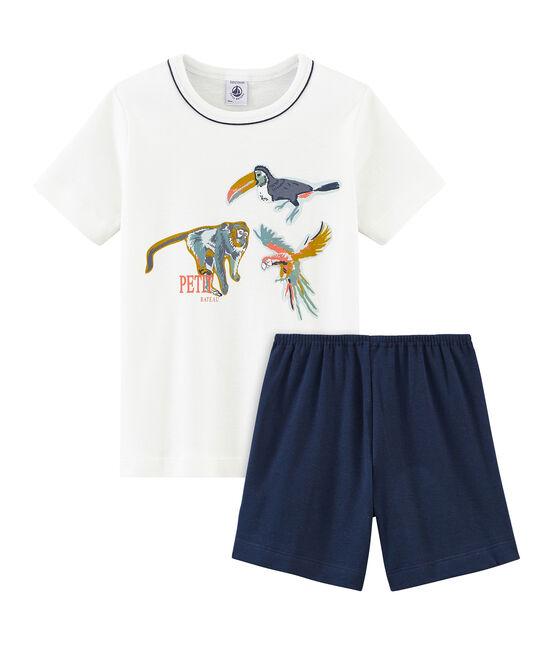 Pijama corto de punto para niño azul Haddock / blanco Marshmallow