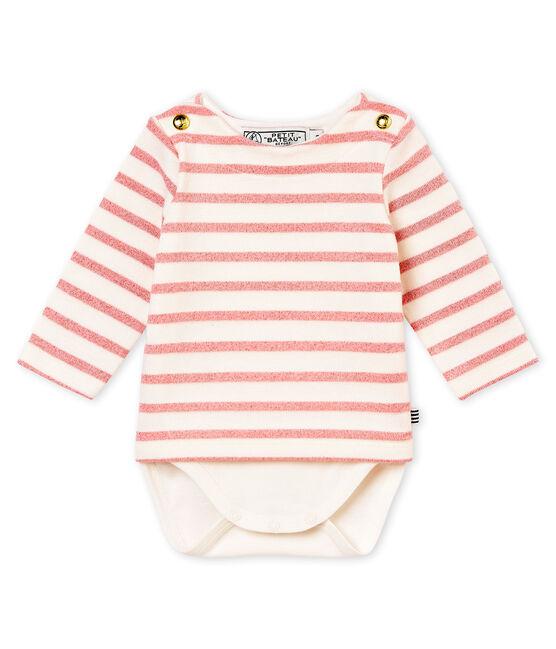 Body marinero brillante para bebé niña blanco Marshmallow / rosa Joli Brillant