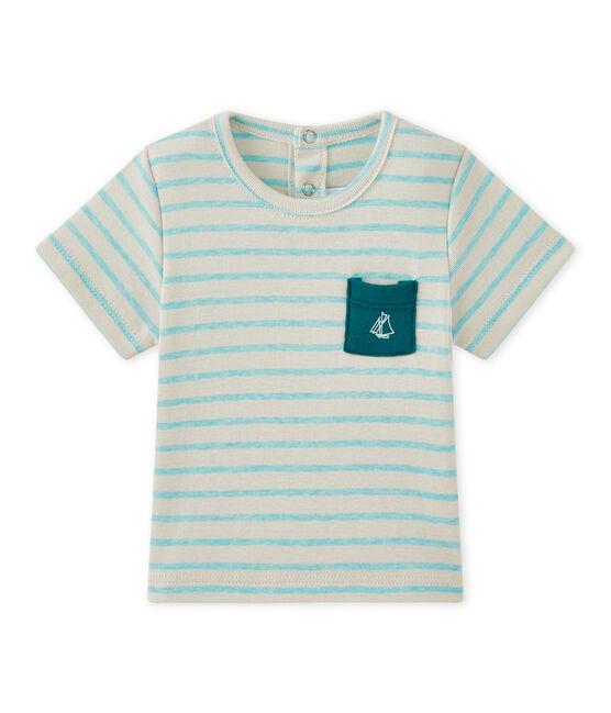 Camiseta a rayas bebé niño de manga corta blanco Feta / verde Adventure