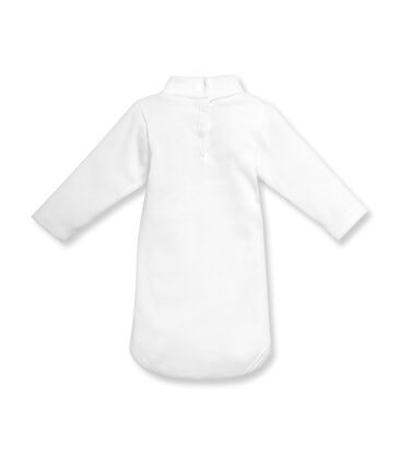 Unisex baby long-sleeved rollneck bodysuit in brushed cotton blanco Ecume