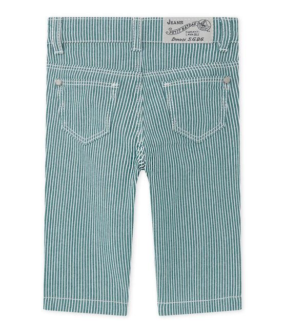 Pantalón de rayas para bebé niño verde Olivier / blanco Marshmallow