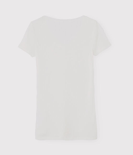 Camiseta icónica con cuello de pico para mujer blanco Ecume