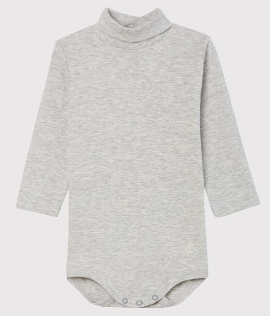 Bodi de manga larga con cuello de tortuga para bebé gris Beluga