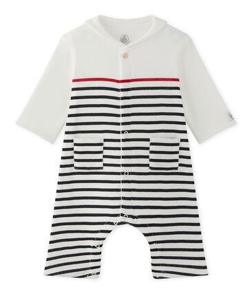 Pelele para bebé niño a rayas con cuello marinero