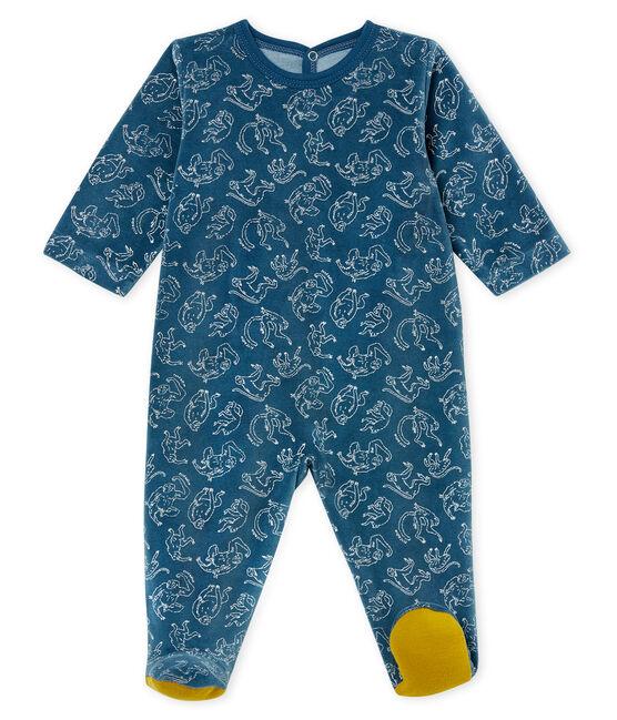 Pelele de algodón para bebé de niño azul Shadow / blanco Marshmallow