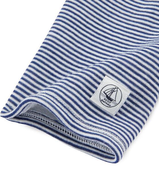 Leggings infantiles de lana y algodón azul Medieval / blanco Marshmallow