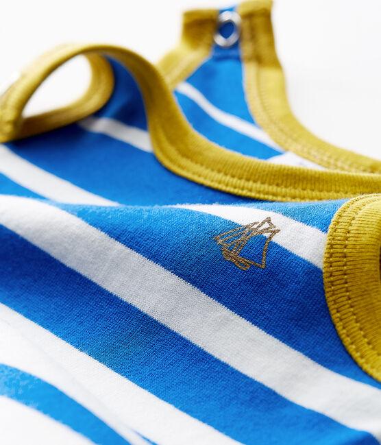 Mono corto de punto ligero con rayas decorativas para bebé niño azul Riyadh / blanco Marshmallow