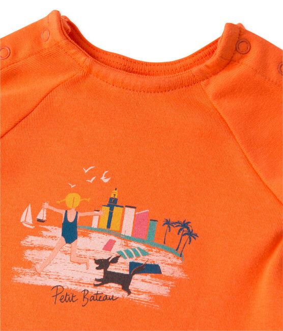 Conjunto de camiseta y short para bebé niña naranja Brazilian / rosa Petal