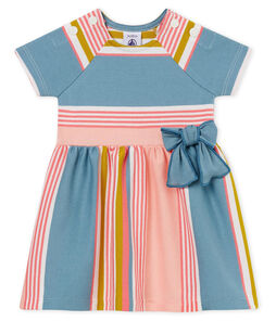 Vestido manga corta de rayas para bebé niña