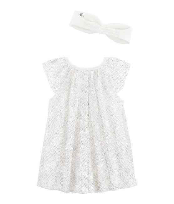 Vestido de manga corta para bebé niña con cinta blanco Marshmallow / amarillo Or