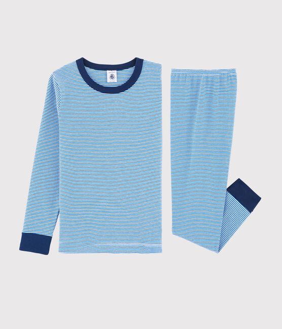 Pijama de mil rayas azul de niño pequeño de punto azul Ruisseau / blanco Marshmallow