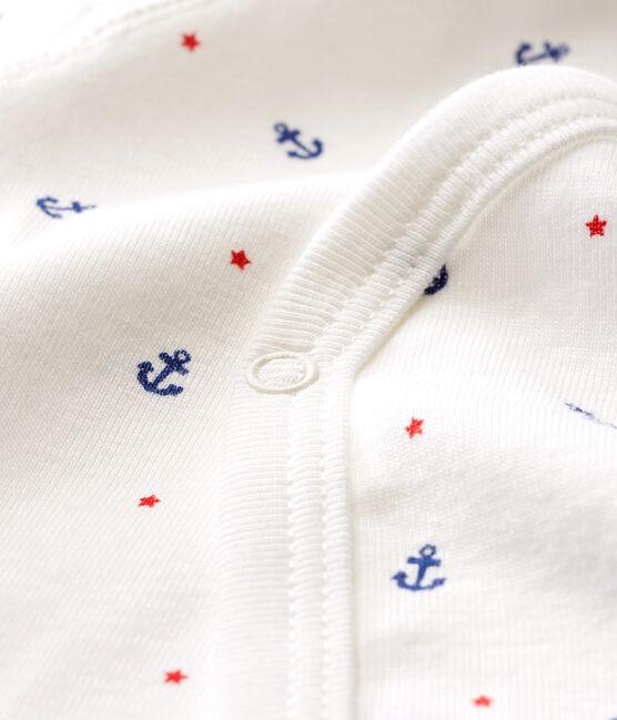 Body de nacimiento manga larga para bebé niño blanco Marshmallow / blanco Multico