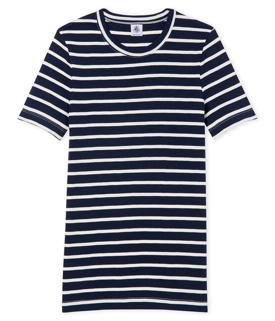 Camiseta a rayas para mujer de manga corta azul Smoking / blanco Marshmallow