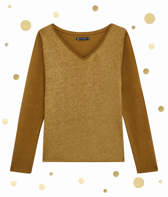 Camiseta de manga larga para mujer marrón Brindille / amarillo Dore