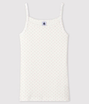 Camisa de tirantes fantasía para mujer blanco Marshmallow / rosa Charme