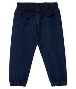Pantalón de tela efecto vaquero para bebé niña
