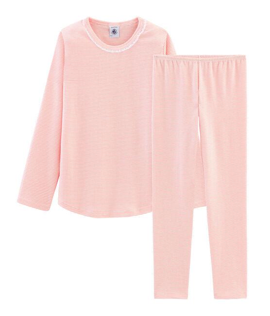 Pijama de punto para niña rosa Rosako / blanco Marshmallow